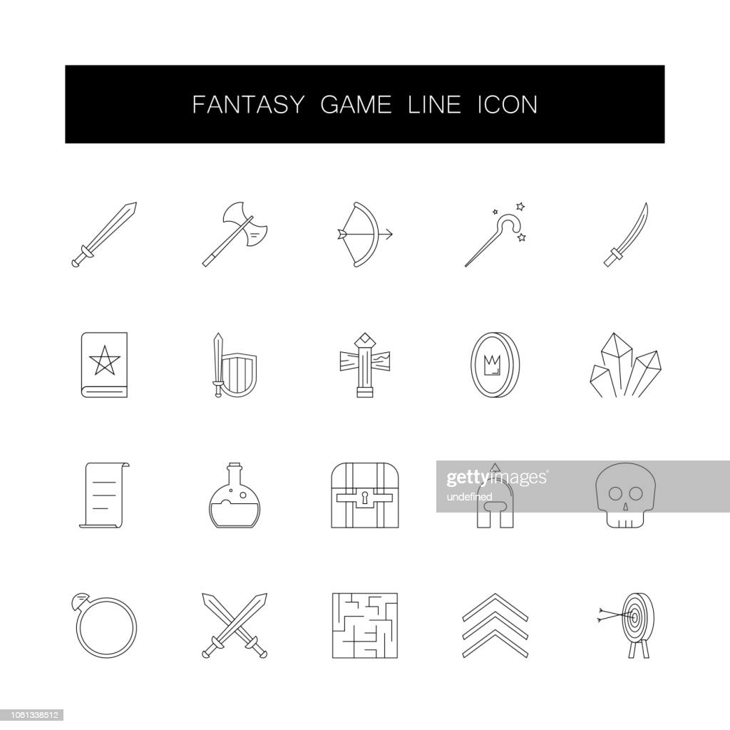 Line icons set. Fantasy game pack. Vector illustration