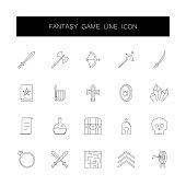 Line icons set. Fantasy game pack. Vector illustration