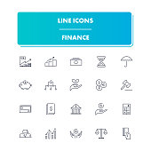Line icons set. Finance