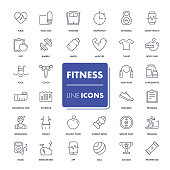 Line icons set. Fitness