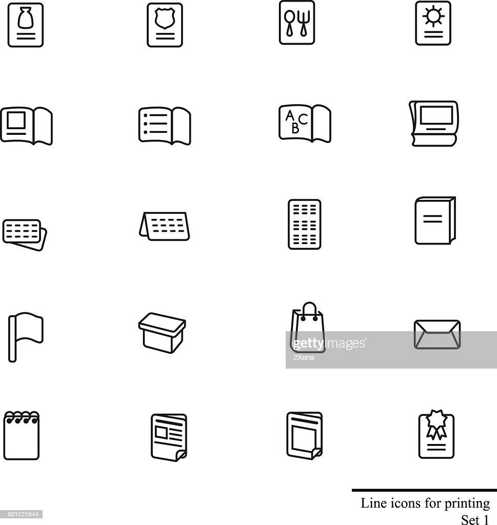 Line icons set for printing stuff