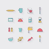Line icons set in flat design. Elements of Cooking Foods