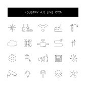 Line icons set. Industry 4.0 pack. Vector illustration