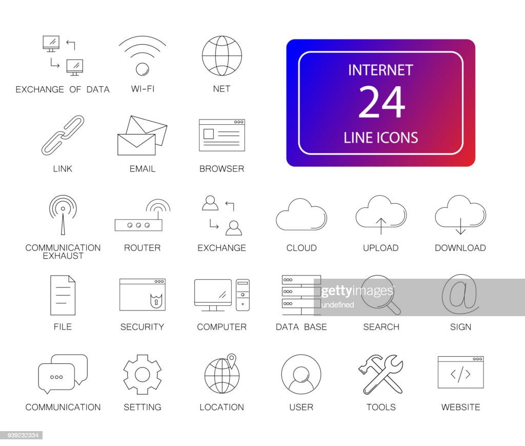 Line icons set. Internet pack
