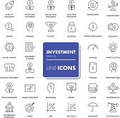 Line icons set. Investment
