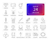 Line icons set. Jewelry pack.