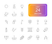 Line icons set. Light pack.