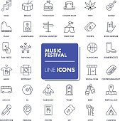 Line icons set. Music festival