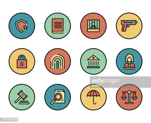 line icons set of law and justice. modern color flat design linear pictogram collection. outline vector concept of stroke symbol pack. premium quality web graphics material. - criação digital stock illustrations