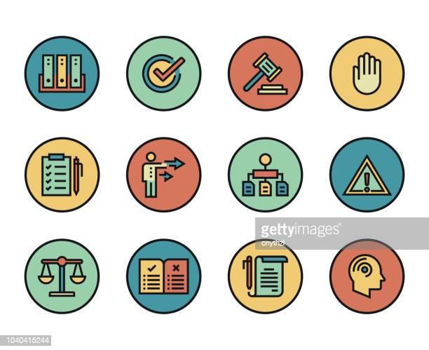 line icons set of regulations. modern color flat design linear pictogram collection. outline vector concept of stroke symbol pack. premium quality web graphics material. - criação digital stock illustrations