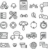 Line icons set of support