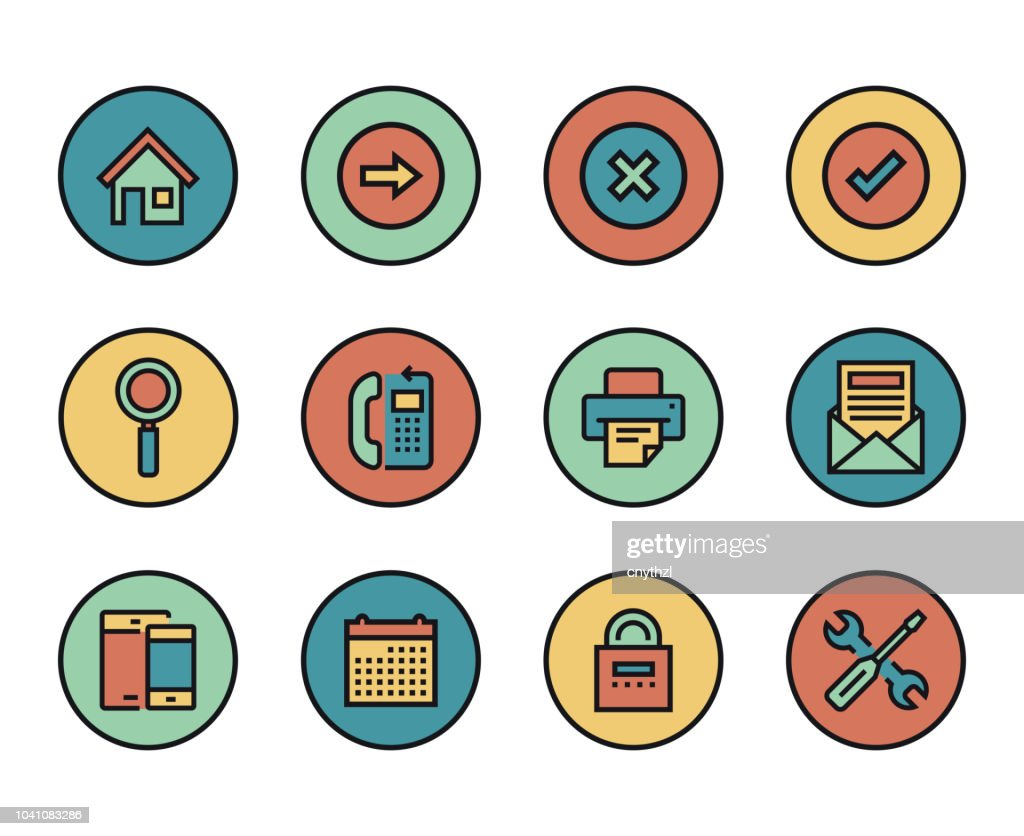 Line Icons Set Of User Interface Modern Color Flat Design Linear Pictogram Collection Outline Vector Concept Of Stroke Symbol Pack Premium Quality Web Graphics Material High Res Vector Graphic Getty Images