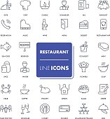 Line icons set. Restaurant