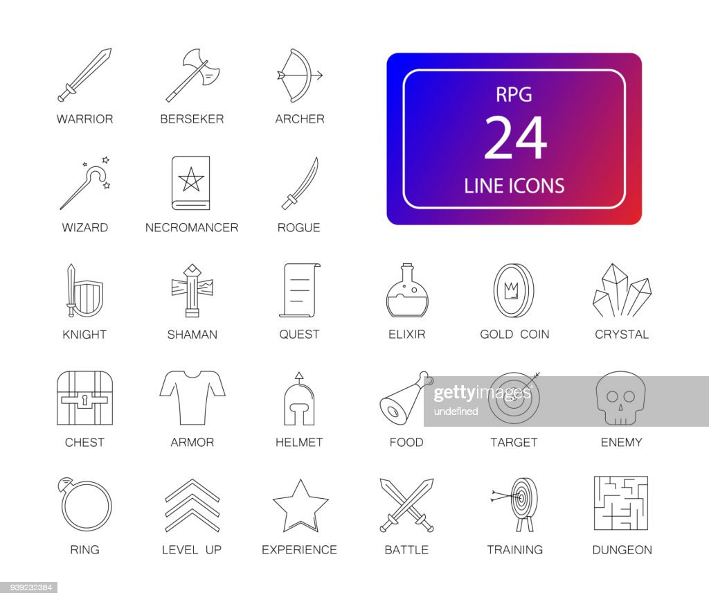 Line icons set. Rpg, fantasy game pack.