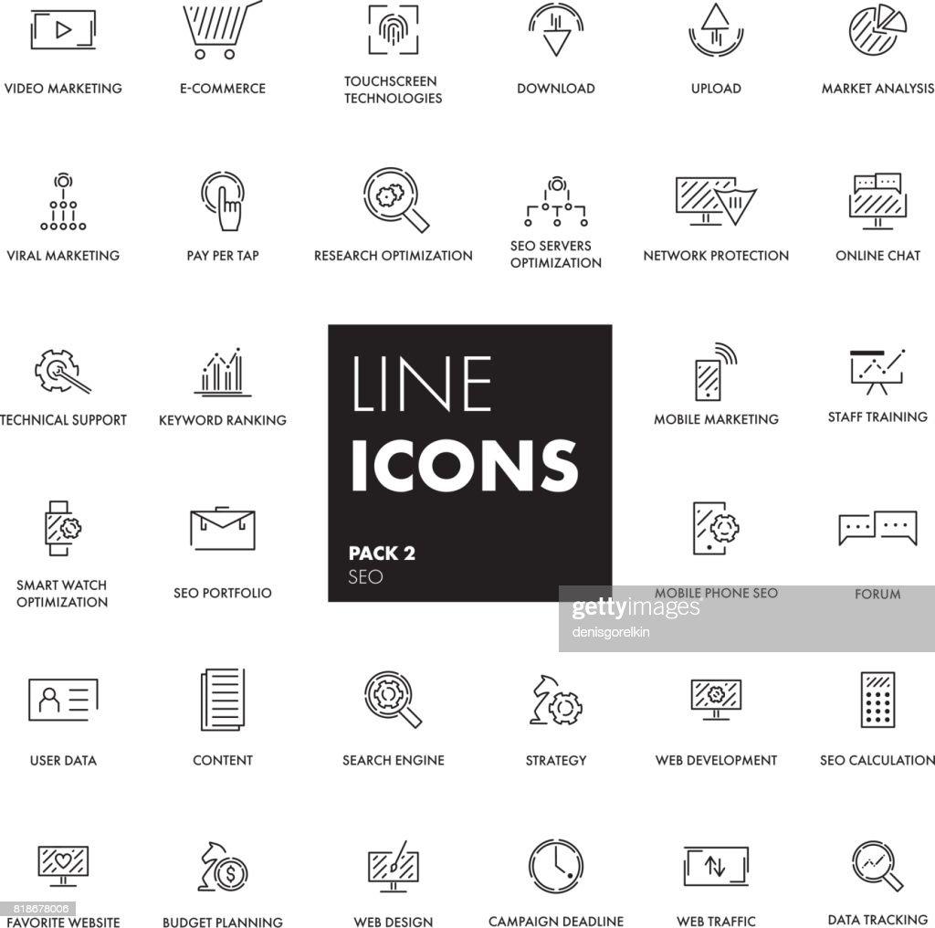 Line icons set. SEO