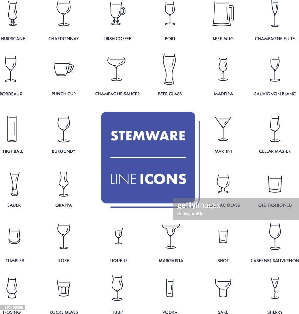 Line icons set. Stemware