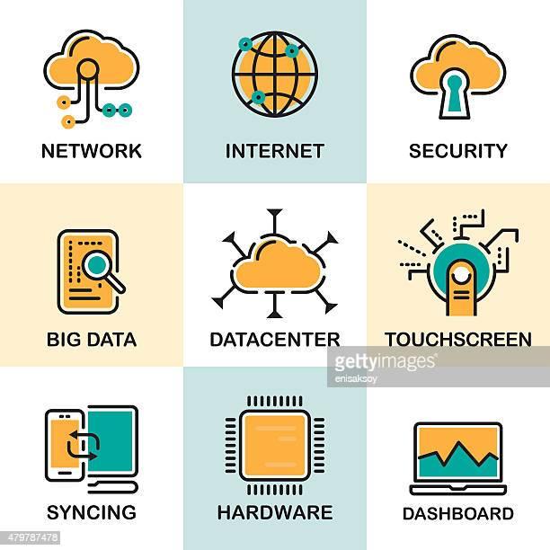 line icons set with flat design elements - big data storage stock illustrations
