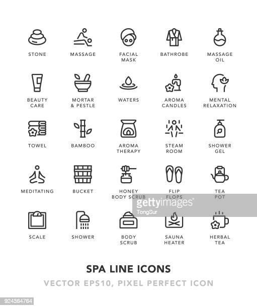 spa line icons - mortar and pestle stock illustrations, clip art, cartoons, & icons
