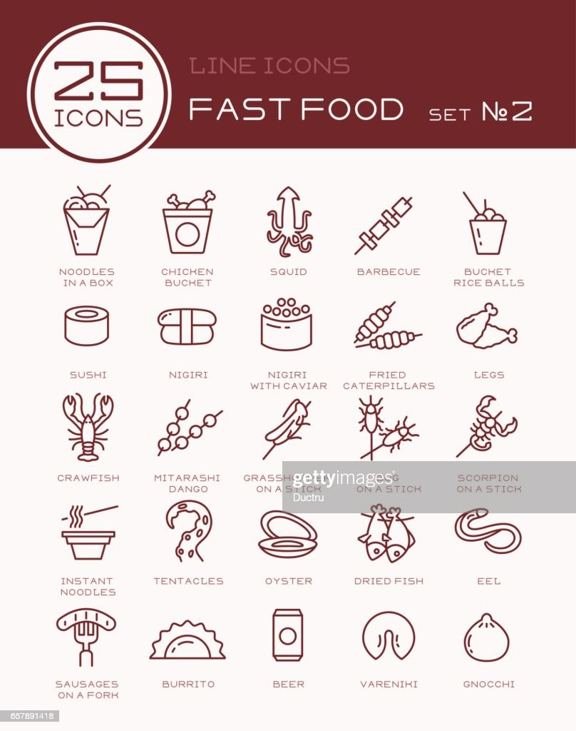 Line icons with fast food set №2