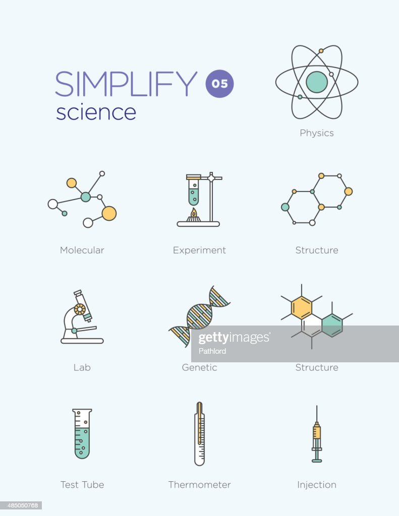 Line icons with flat design elements of science