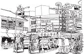 Line illustration of Chiang Mai, Thailand on white