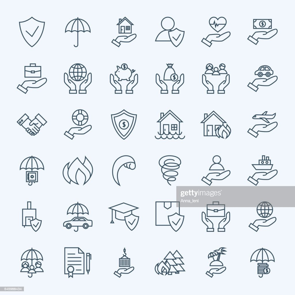 Line Insurance Service Icons Set