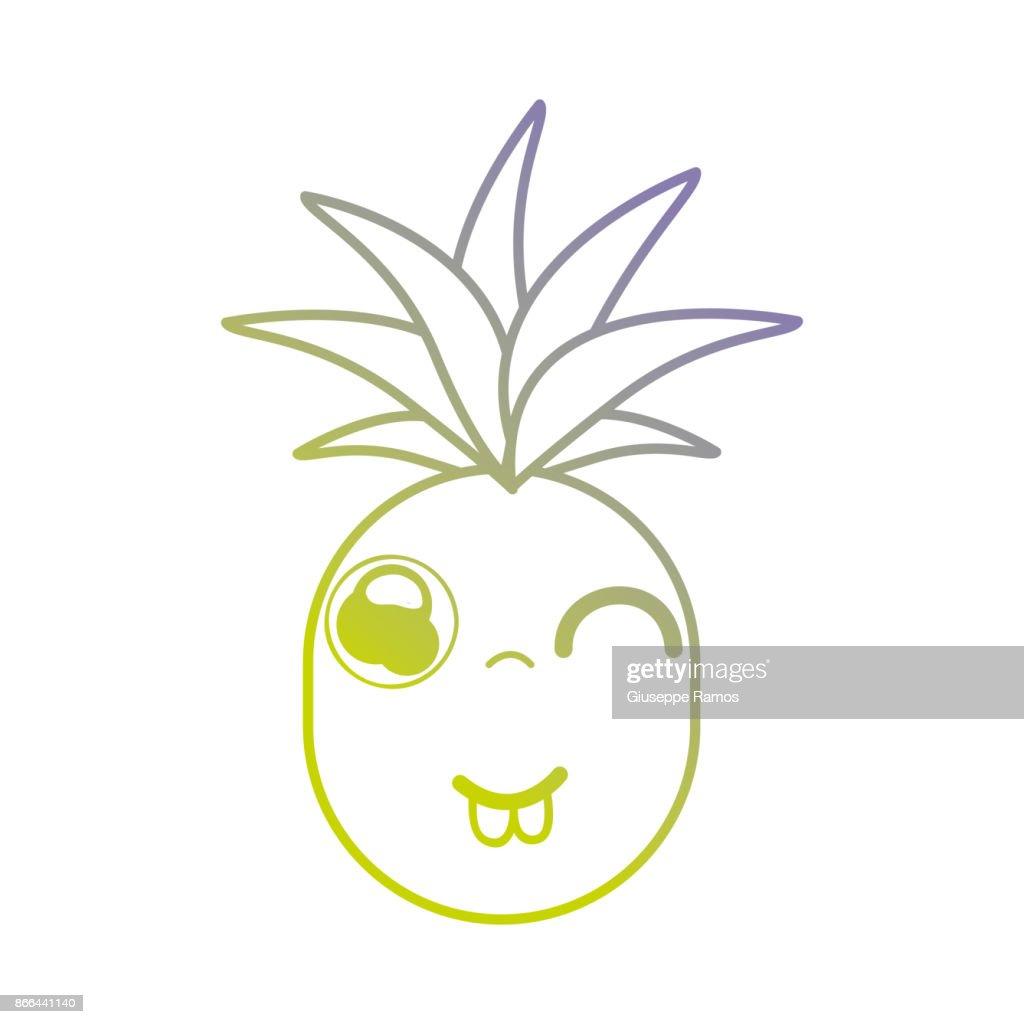 Linie Kawaii Niedlich Lustige Ananas Frucht Stock