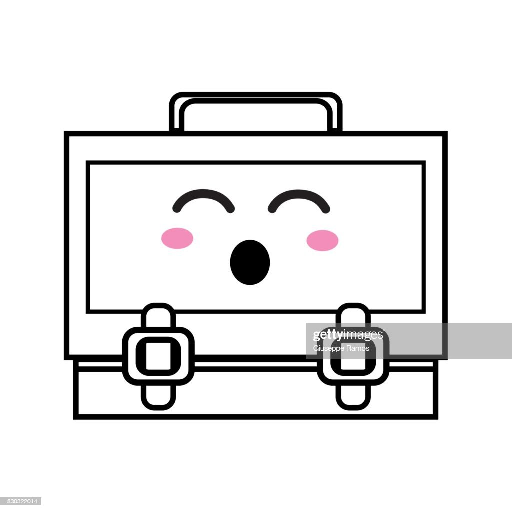 line kawaii cute funny suitcase design