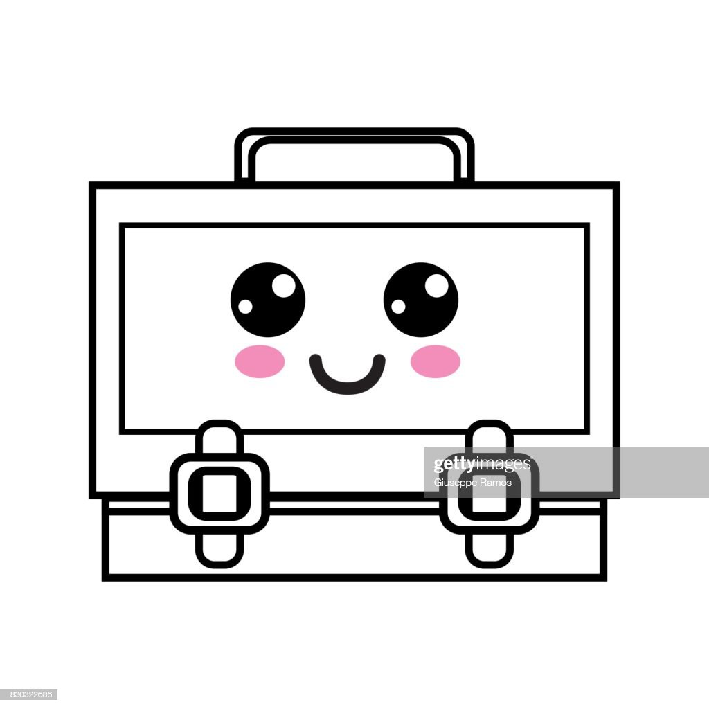 line kawaii cute happy suitcase design