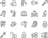 Line Keys and Locks Icons