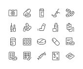 Line Medical Drugs Icons