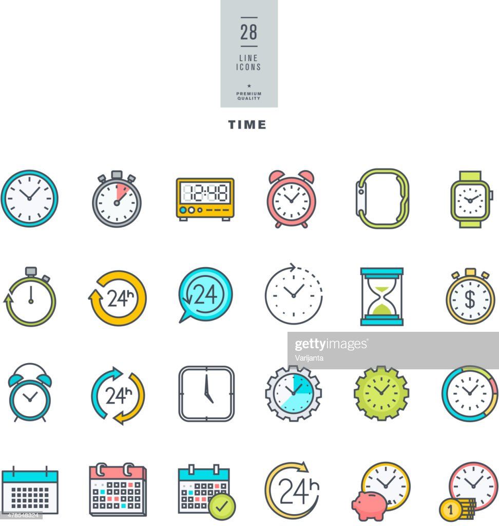 Line modern color icons set on the theme of time