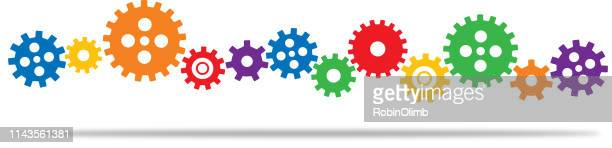 line of connected colorful gears - gearshift stock illustrations, clip art, cartoons, & icons
