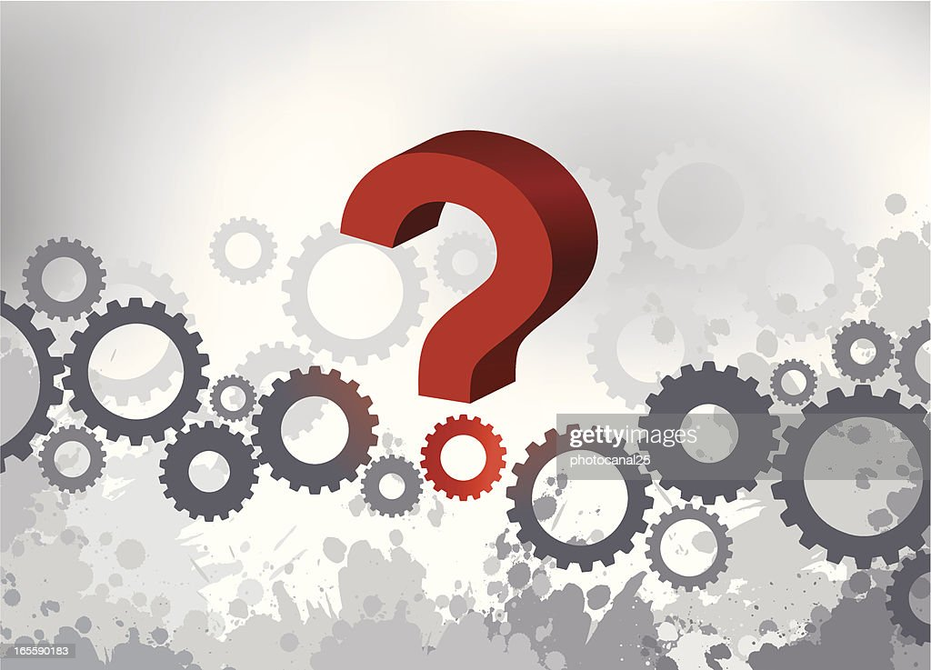 Line of gears and one of them forming a question mark : stock vector