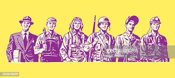 line of various workers - military personnel stock illustrations, clip art, cartoons, & icons