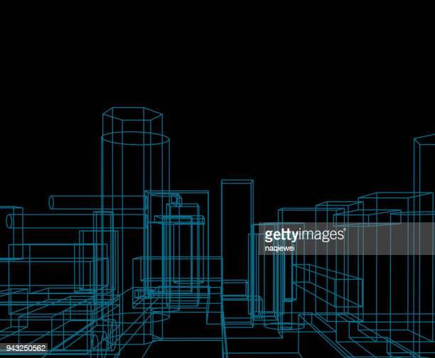 line pattern background - building activity stock illustrations