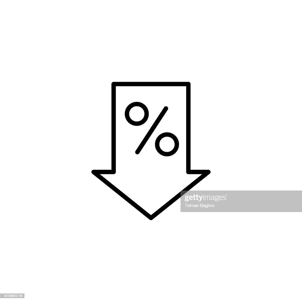 line percent down icon on white background