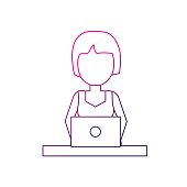 line profesional businesswoman with laptop and corporate job