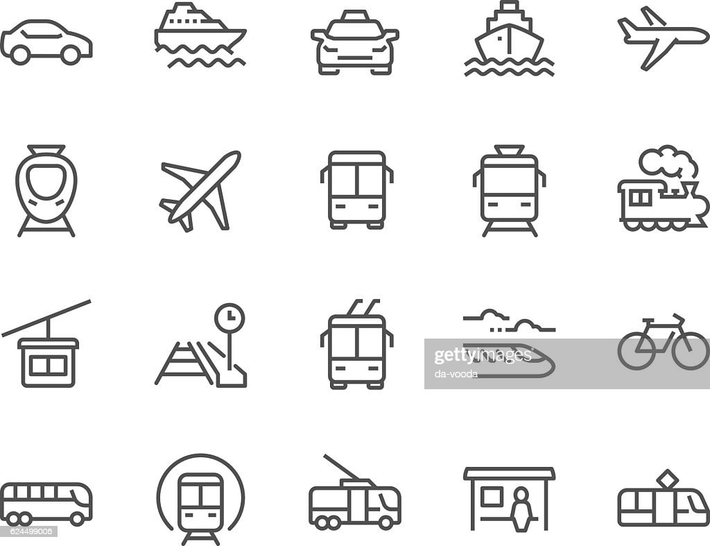 Line Public Transport Icons