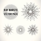 Line Ray Burst. vintage style - vector set