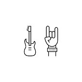 line rock concert icon on white background