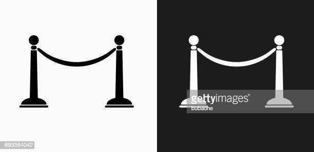 Line Rope Icon on Black and White Vector Backgrounds