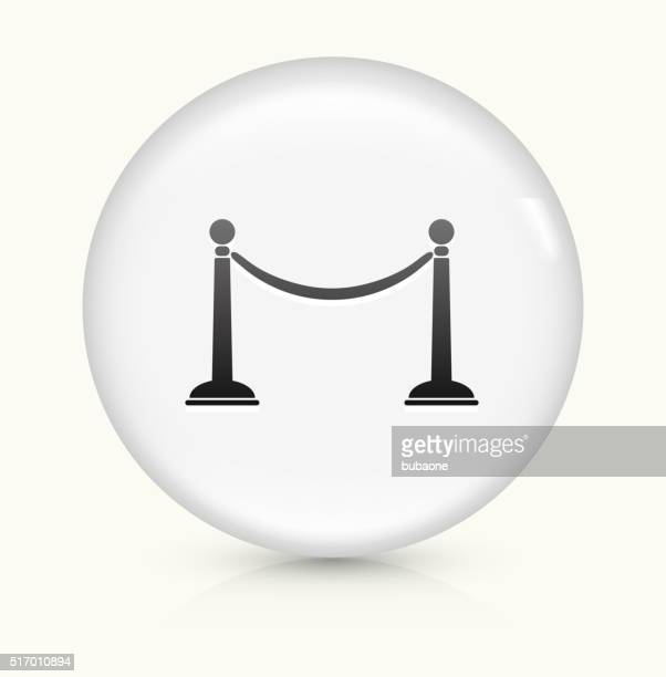 line rope icon on white round vector button - cordon boundary stock illustrations