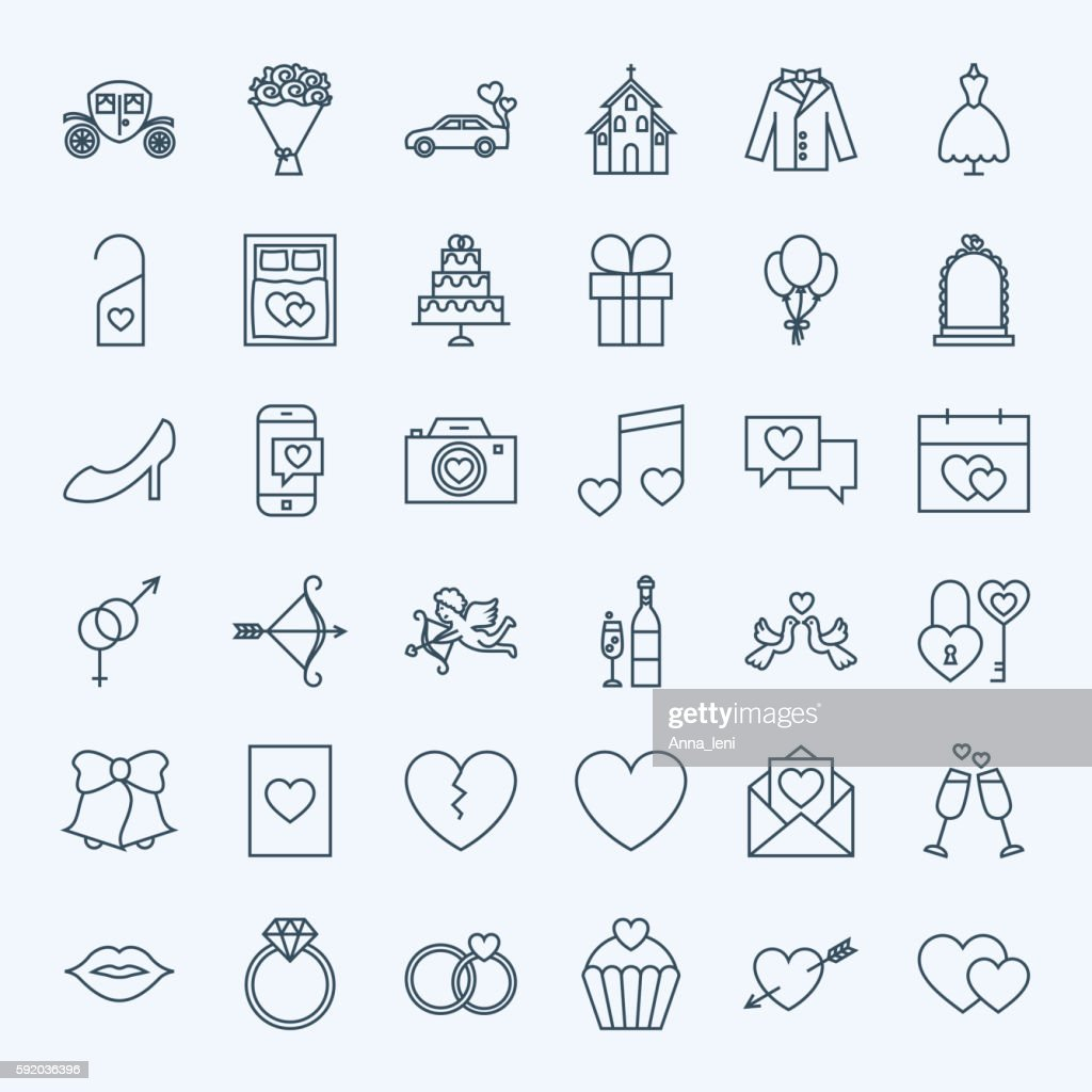 Line Save the Date Icons