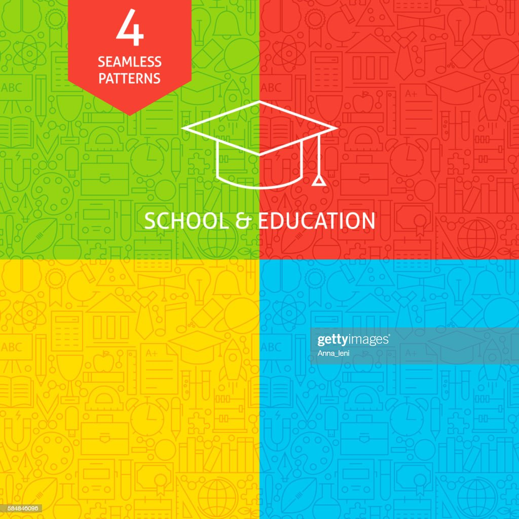 Line School and Education Tile Patterns