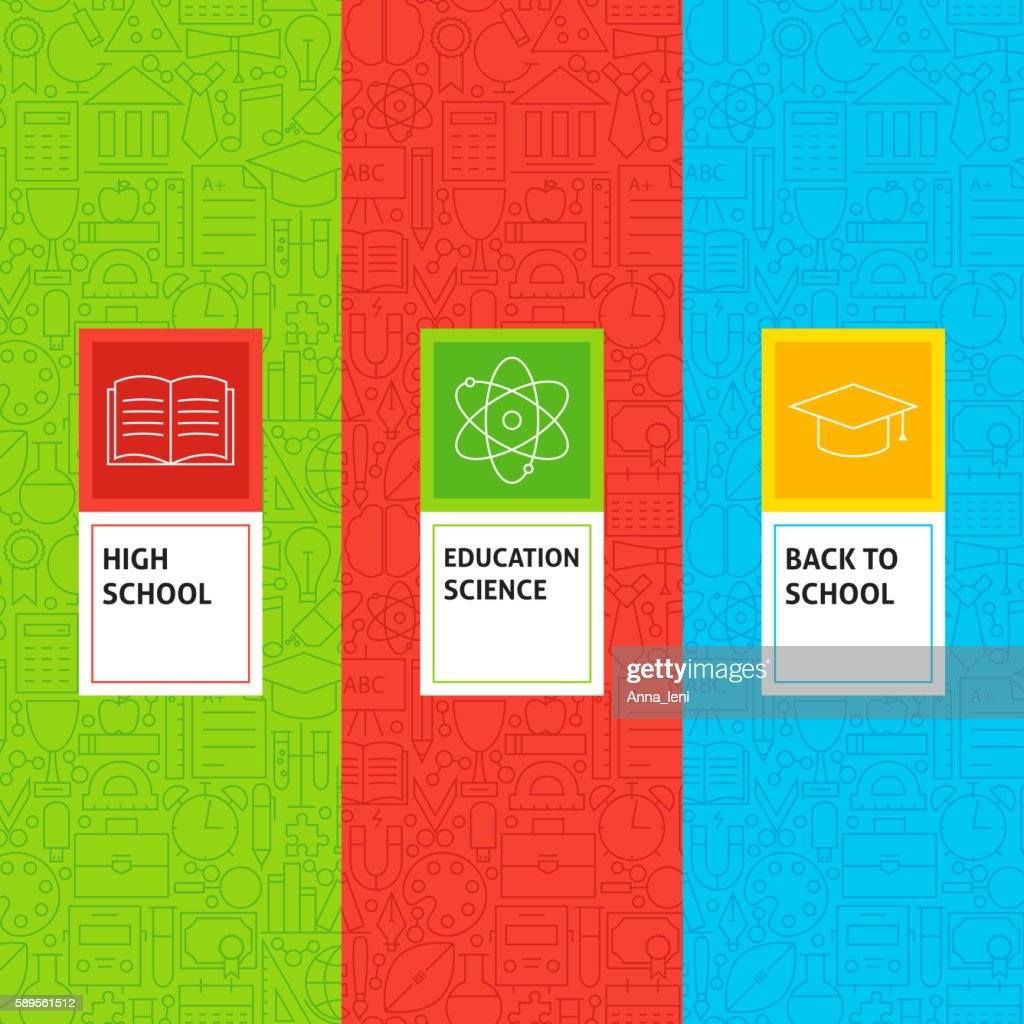 Line School Education Patterns Set