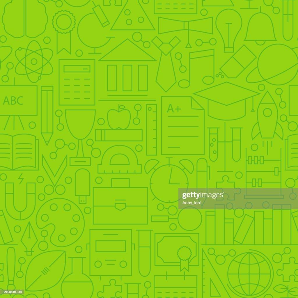 Line School Green Seamless Pattern
