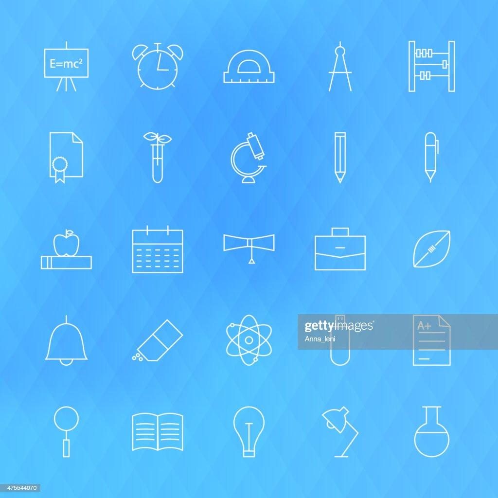 Line School Icons Set