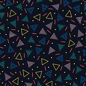 line shapes seamless patterns. Fashion 80-90s. Jumble textures. Triangle.