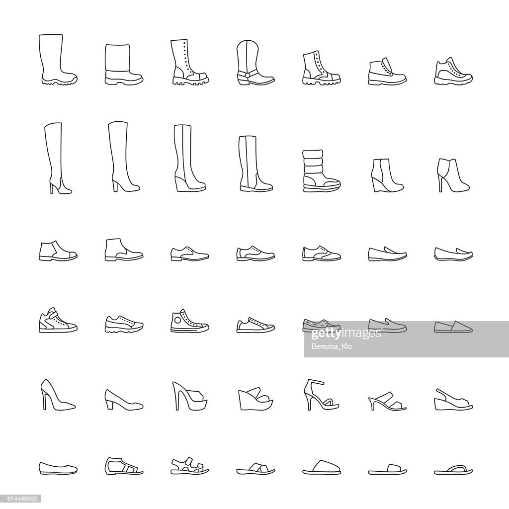 Line shoes icons set. Vector illustration